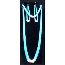 Navajo necklace, bracelet, and earrings
