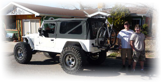 Brad Barker and son with matching Jeep and Ventana