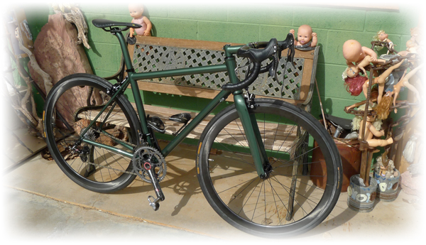 Fine Art and a Campy Super Record Titanium component group on a Moots Vamoots RSL Frame