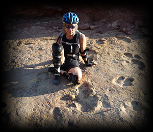 Moab slickrock with dinosaur tracks