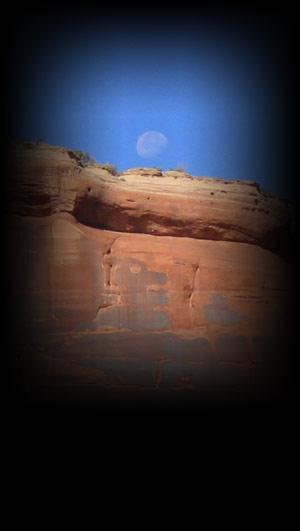 Moab Canyon Country morning moon